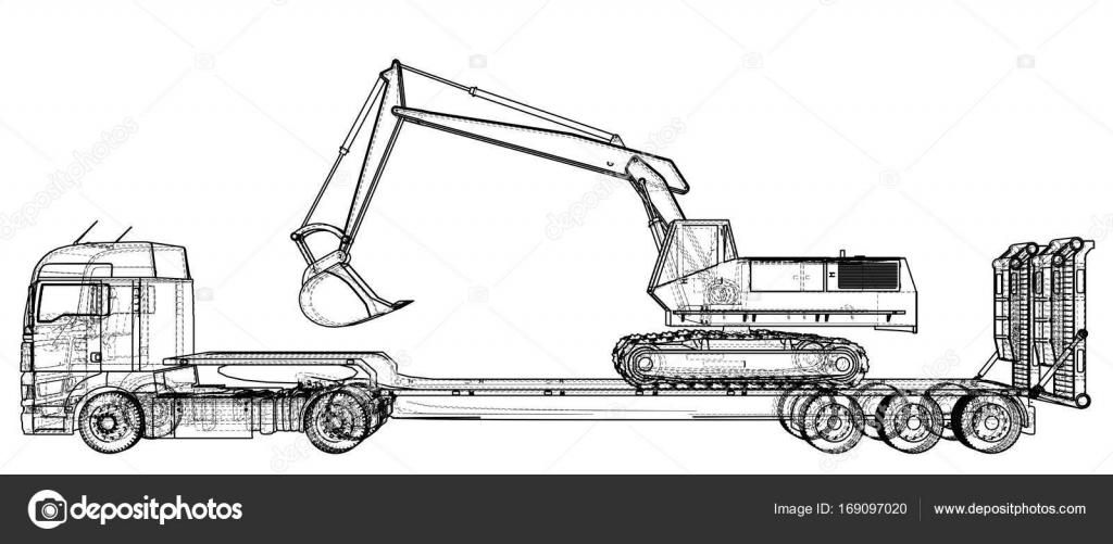 Cama baja remolque de camiones y excavadoras. Dibujo abstracto ...