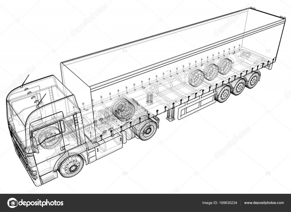 Remolque de camión de carga. Dibujo abstracto. Marco de alambre ...