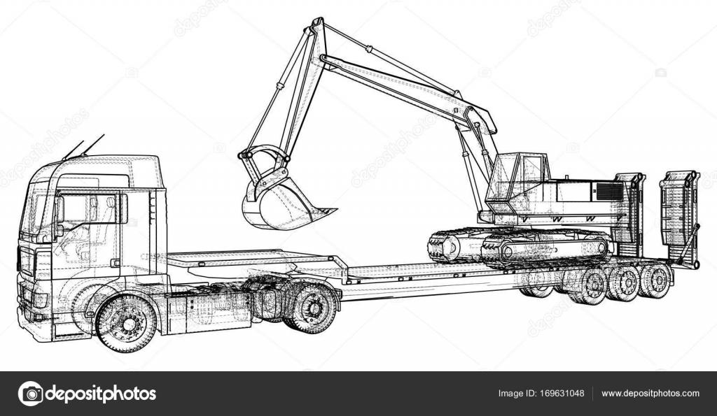 Cama baja remolque de camiones y excavadoras. Marco de alambre ...