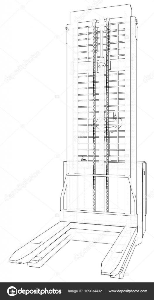 Carretilla elevadora eléctrica de potencia. Transporte de la ...
