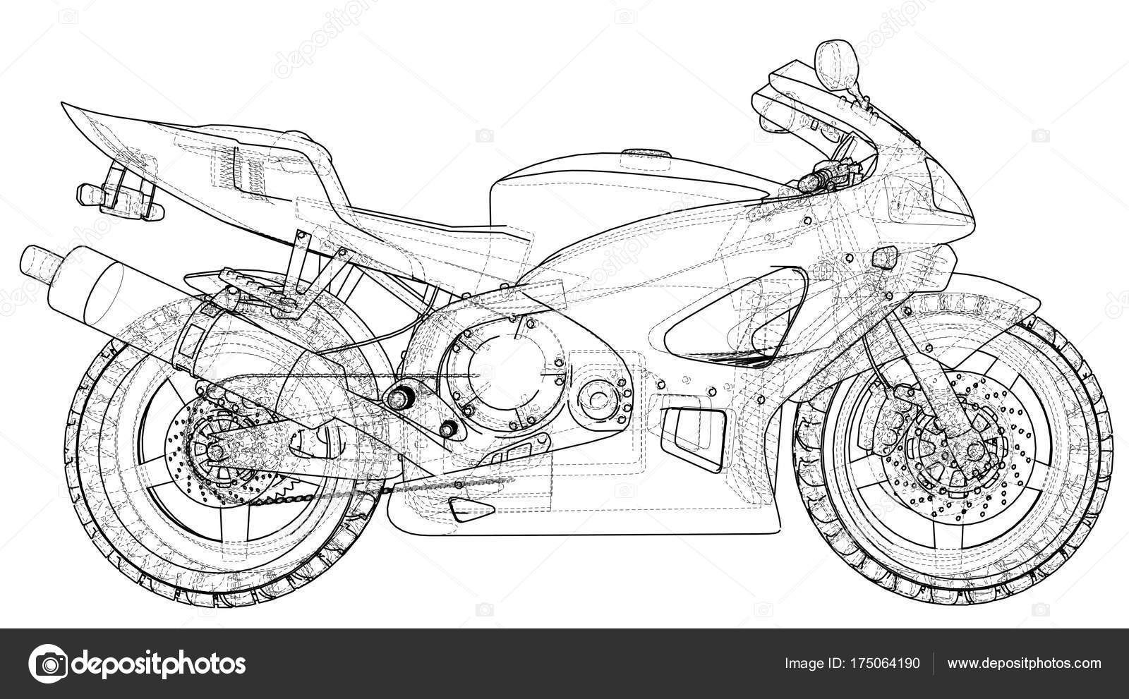Blueprint sport bike. EPS10 format. Vector created of 3d — Stock ...