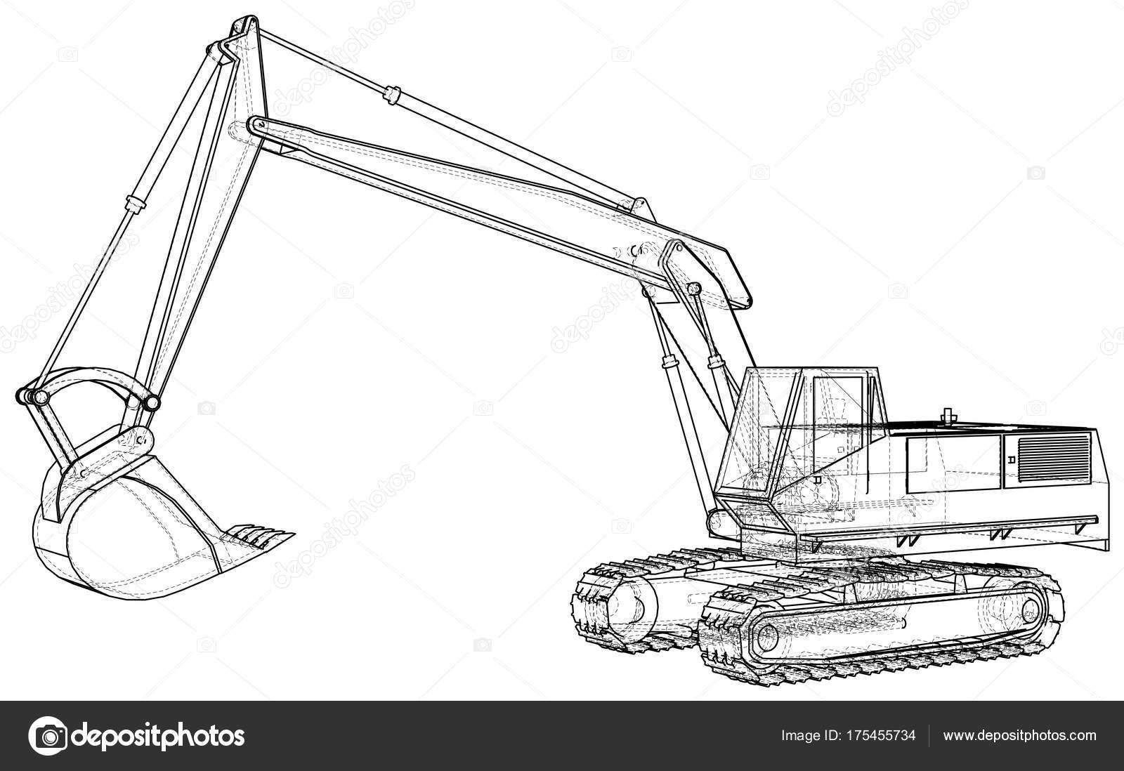 Dell 39 escavatore disegno astratto illustrazione di for Disegno 3d free