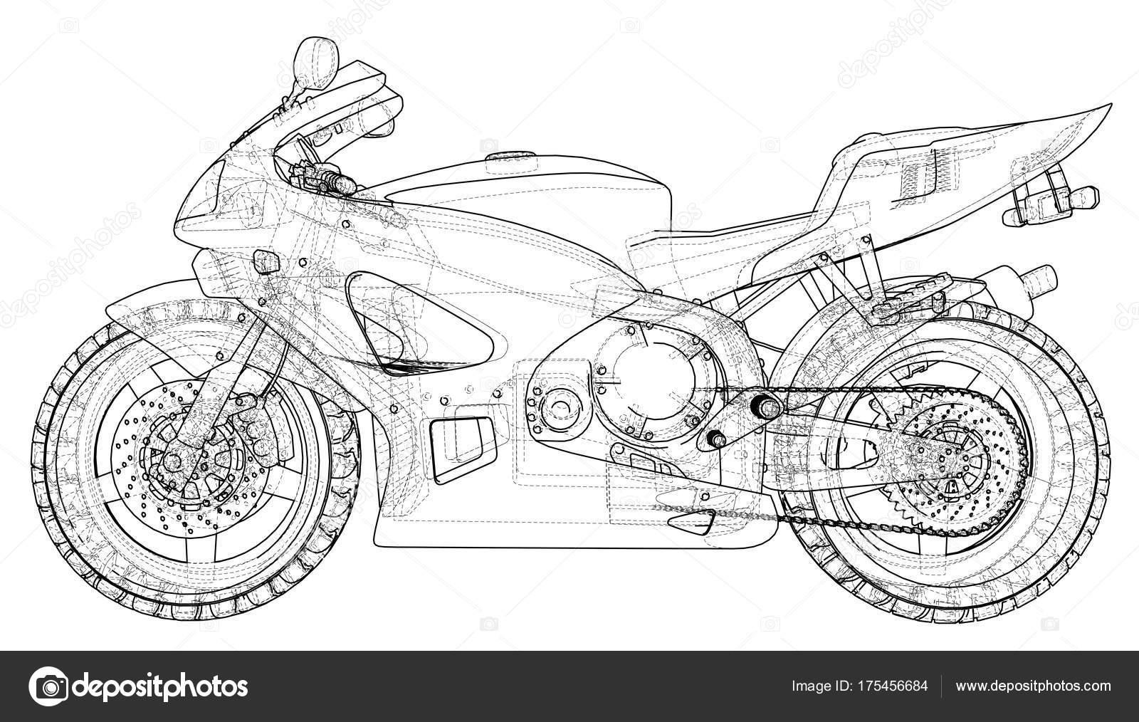 Moto deportiva de Blueprint. Eps10 formato. Vector de 3d — Archivo ...