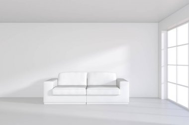 Sofa on white room with large window. 3d rendering