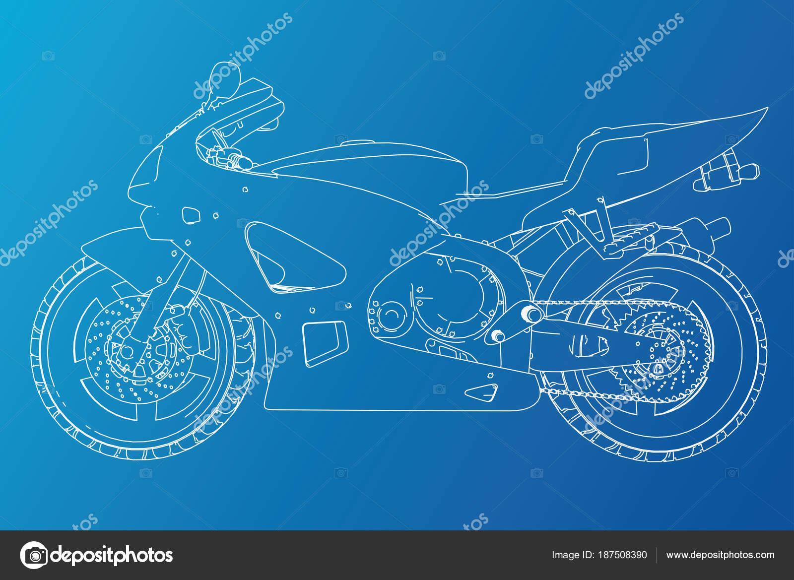 Blueprint Sport Bike Eps10 Format Vector Created Of 3d Stock