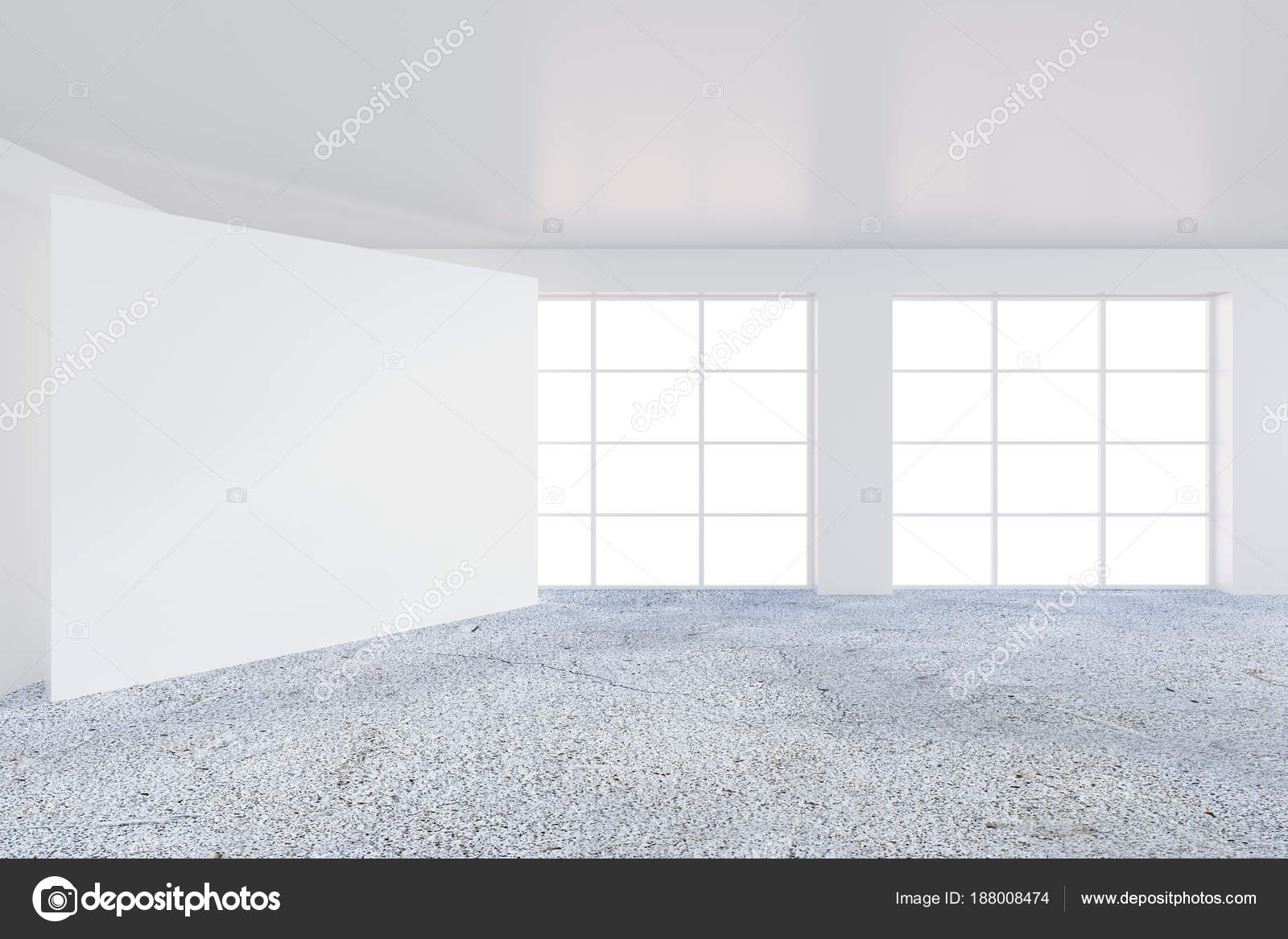 bright office. Empty Bright Office Room With Large Billboard. Light Ray On Wall. 3D Rendering \u2014