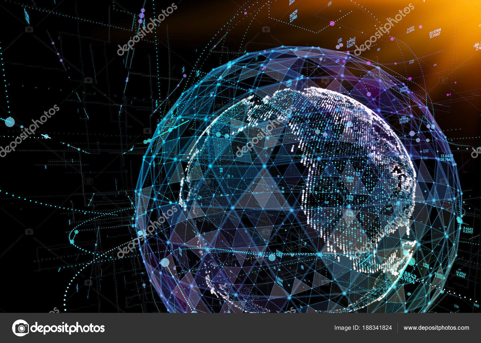 Connections global communication in the world map view on dark space connections global communication in the world map view on dark space background 3d illustration gumiabroncs Gallery