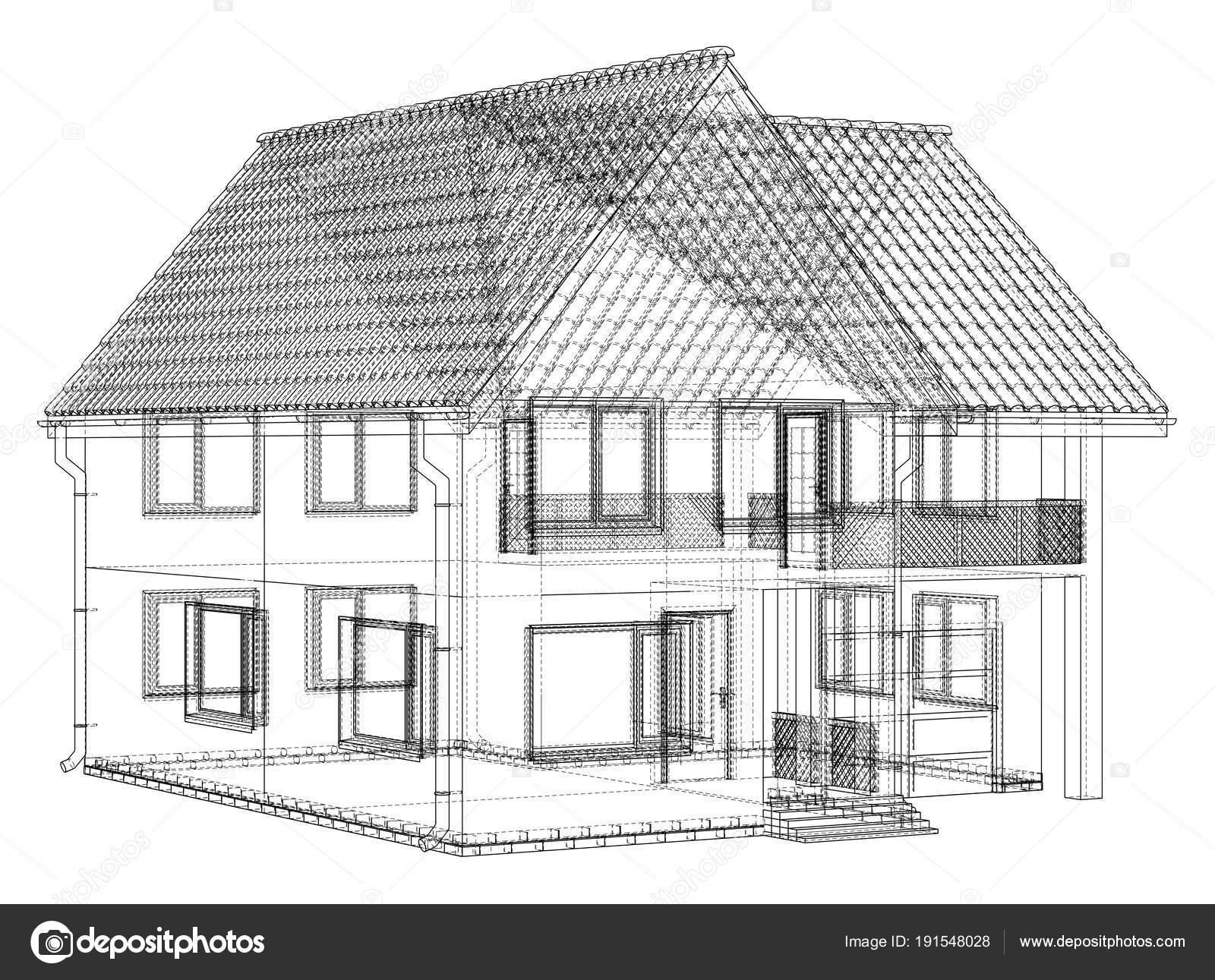 House wire blueprint - isolated over a white background — Stock ...