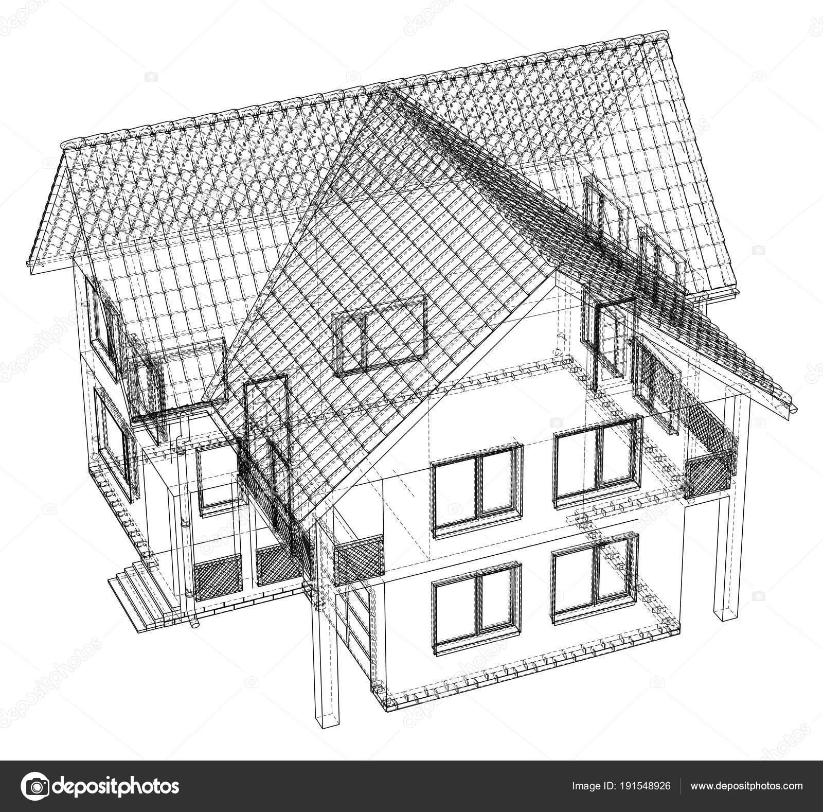 Modèle Filaire Dessin De Maison 3d Illustration