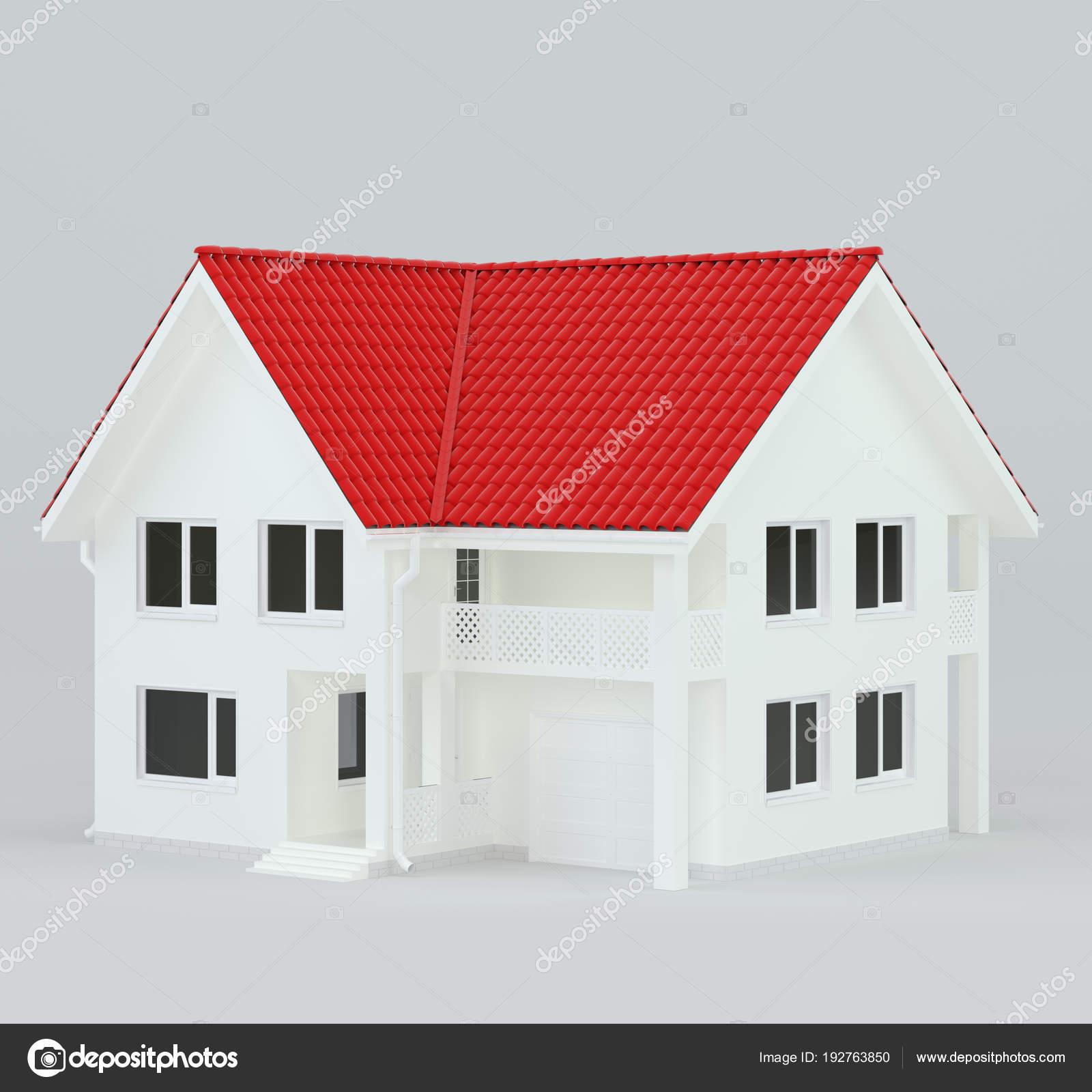 Haus modernen zeitgenössischen Stil mit rotem Dach. 3D-Rendering ...