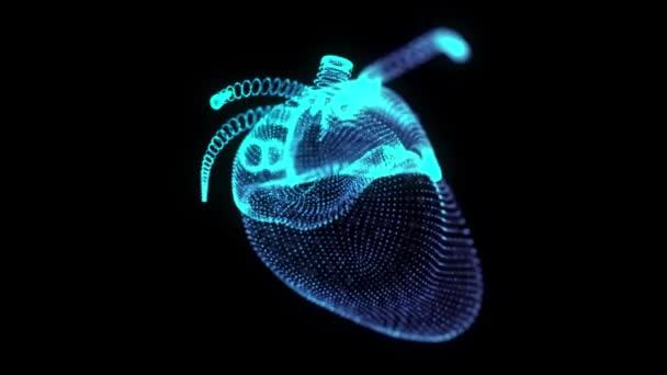Rotierendes 360-Grad-Hologramm des menschlichen Herzens. Leuchtende blaue Lichtteilchen zeigen auf das Modell des menschlichen Herzens. nahtlose Looping-Bewegung animiert im virtuellen 3D-Raum