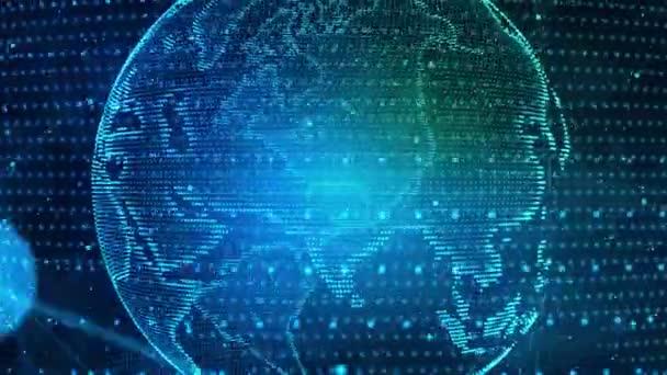 Digital Earth Globe. Technologie Datennetzwerk Planet Erde. 4k Digitales Rendering