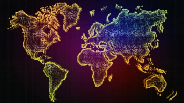 World Map. Animated World map with effects and glowing particles. Business background for presentation of project