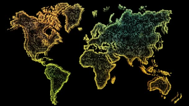 World Map. Animated World map with effects movements particles on black background