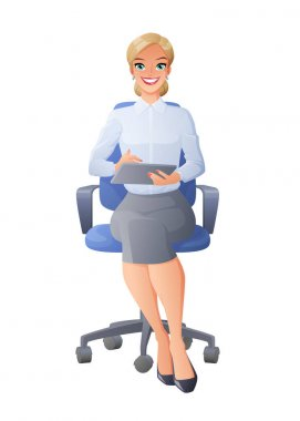 Secretary in office chair with tablet computer. Isolated vector illustration.