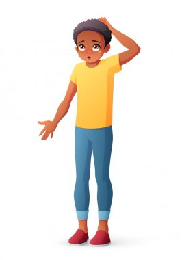 Surprised puzzled kid. African boy scratching his head and shrugging shoulders. Cartoon style vector illustration isolated on white background. stock vector