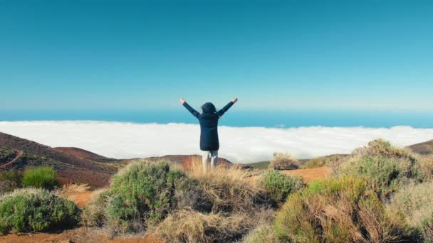 Boldog ünneplés győztes siker nő a felhők felett, felemelt karokkal a feje fölött, ünneplés, hogy elérte a hegycsúcs cél alatt túrázás utazás túra