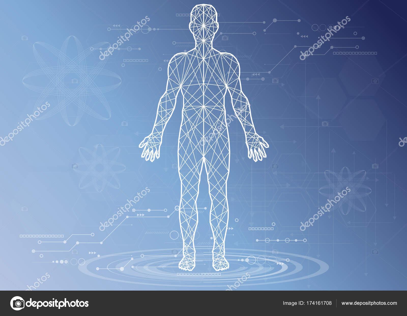 Salud, cuerpo humano, con iconos médicos, órganos, gráficos ...