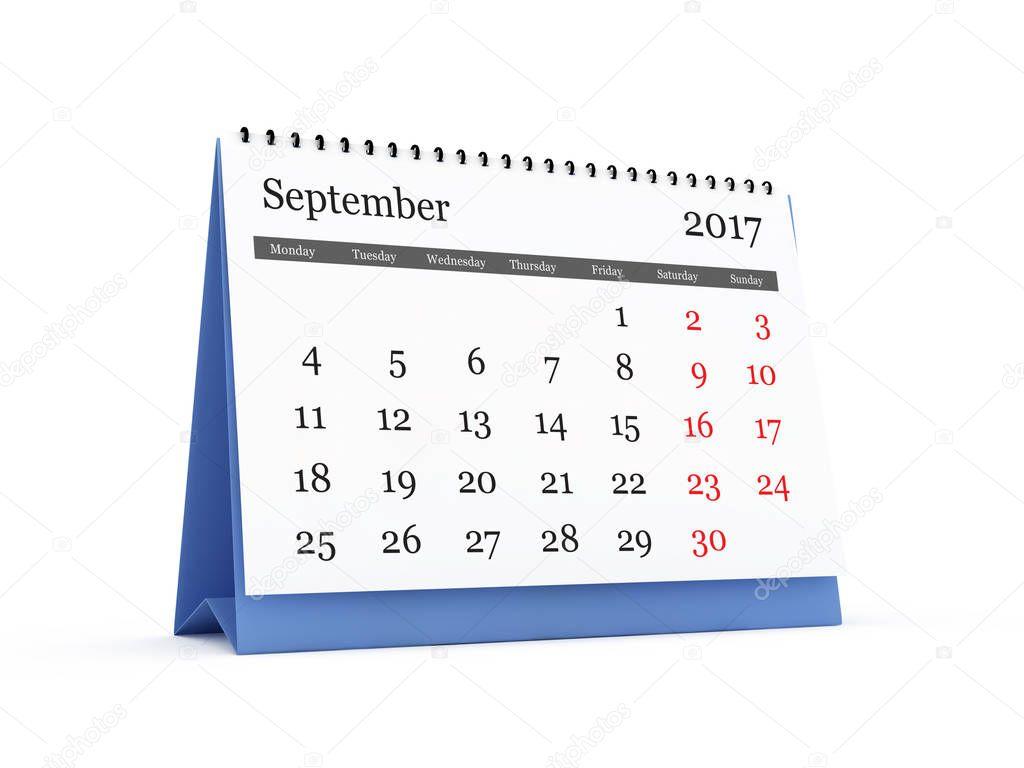 Calendario da tavolo settembre 2017 foto stock niglaynike 130304060 - Calendario 2017 da tavolo ...