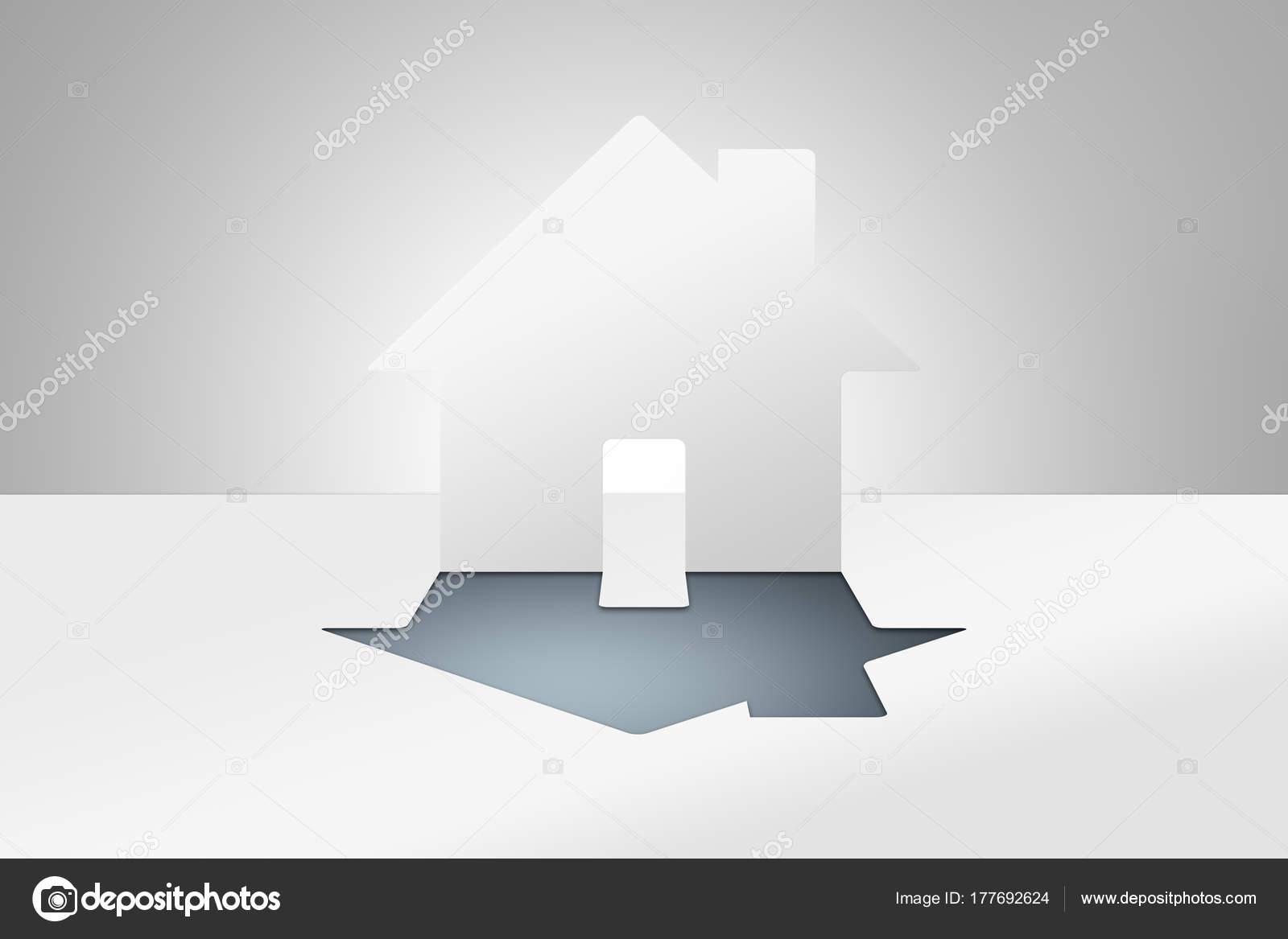 Papier Schneiden Und Falten Kunst Haus Zeichen Stockfoto