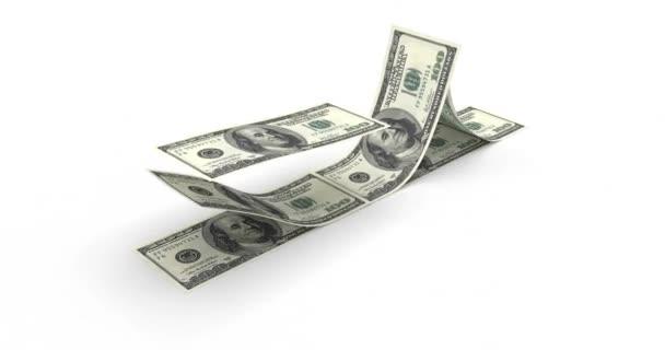 prostorové vykreslování, skládka 100 dolarových bankovek, izolované na bílém pozadí.