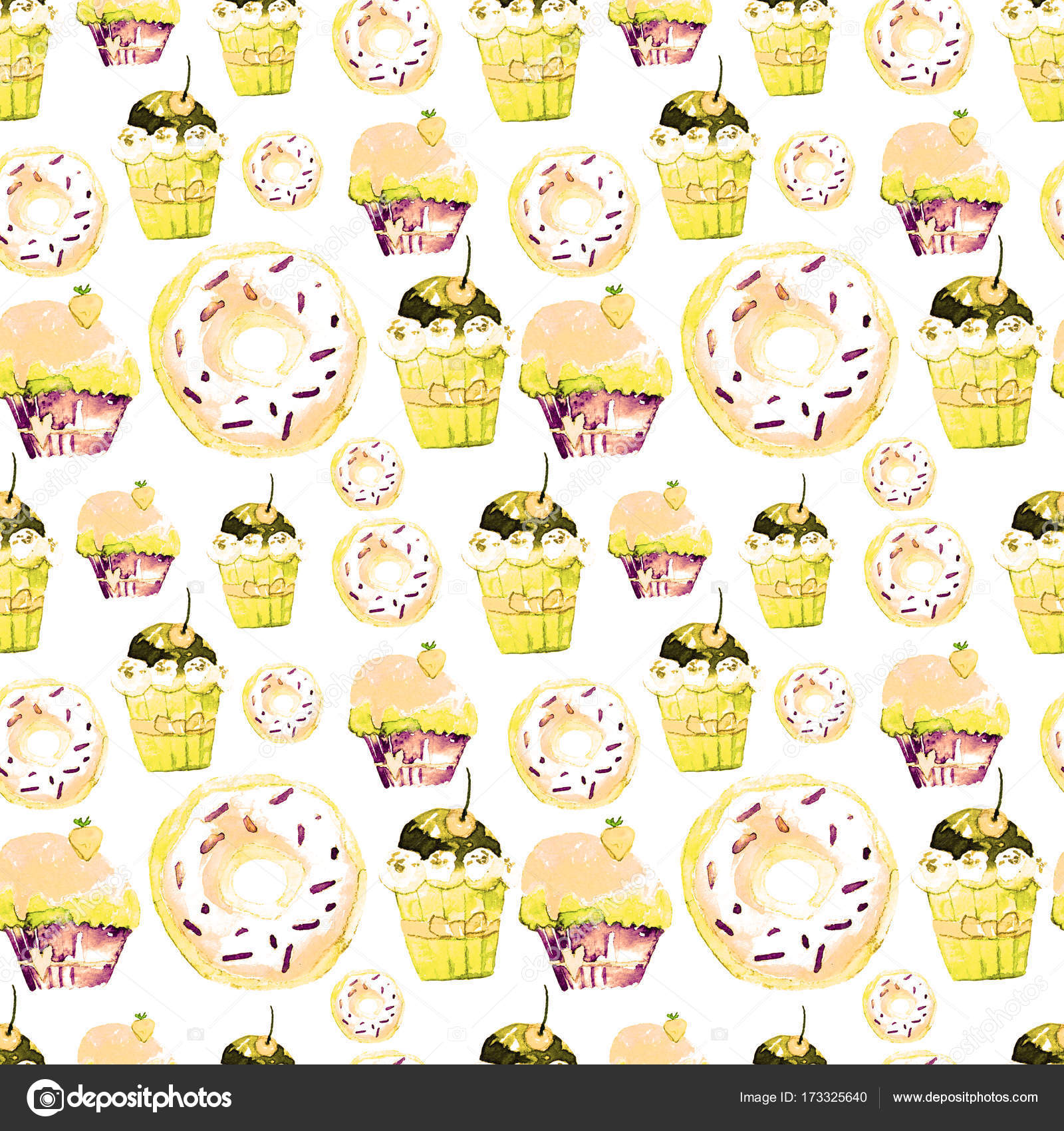 Melting Ice Cream Simple Wallpaper Designs: Sweet Seamless Pattern With Cakes, Donuts And Ice-cream
