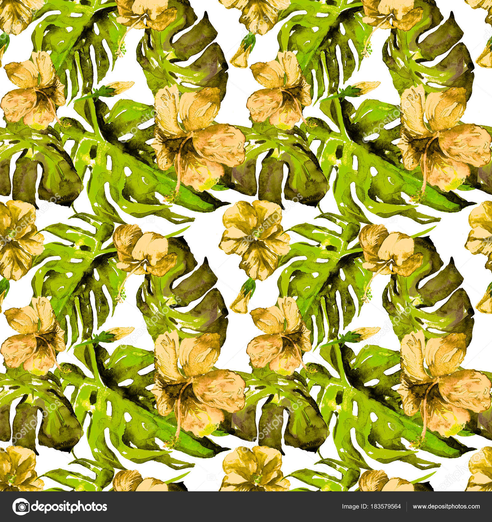 Watercolor seamless pattern hand painted illustration of tropical hawaiian flowers watercolor seamless pattern hand painted illustration of tropical leaves and flowersopic summer motif with hawaiian flowers photo by izmirmasajfo