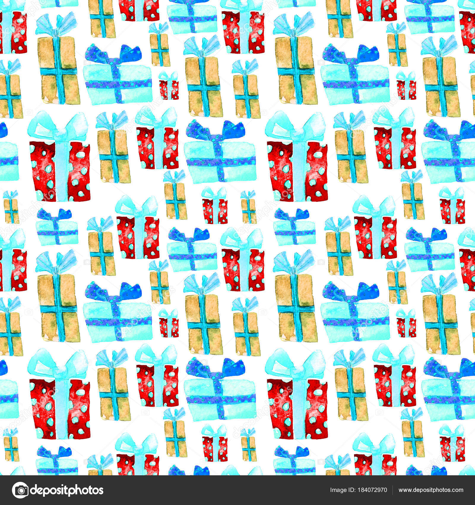 seamless pattern with hand drawn watercolor gifts with bow christmas background party or birthday design repeatable new year pattern