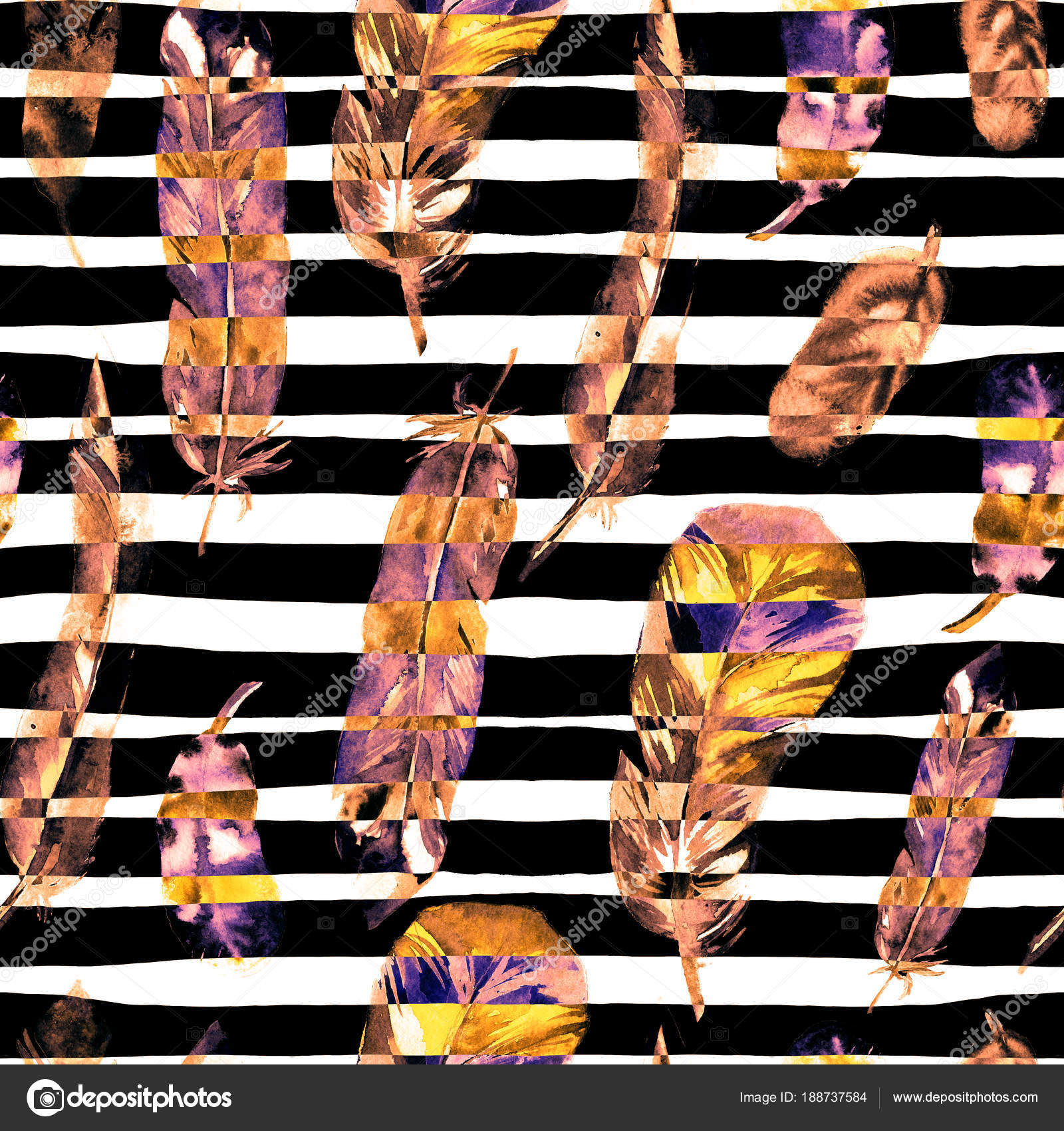 水彩羽とのシームレスなパターン テキスタイル プリント デザイン タイル 壁紙 抽象的な背景の使用することができます ストック写真 C Elenasergeevnalitvinova Gmail Com