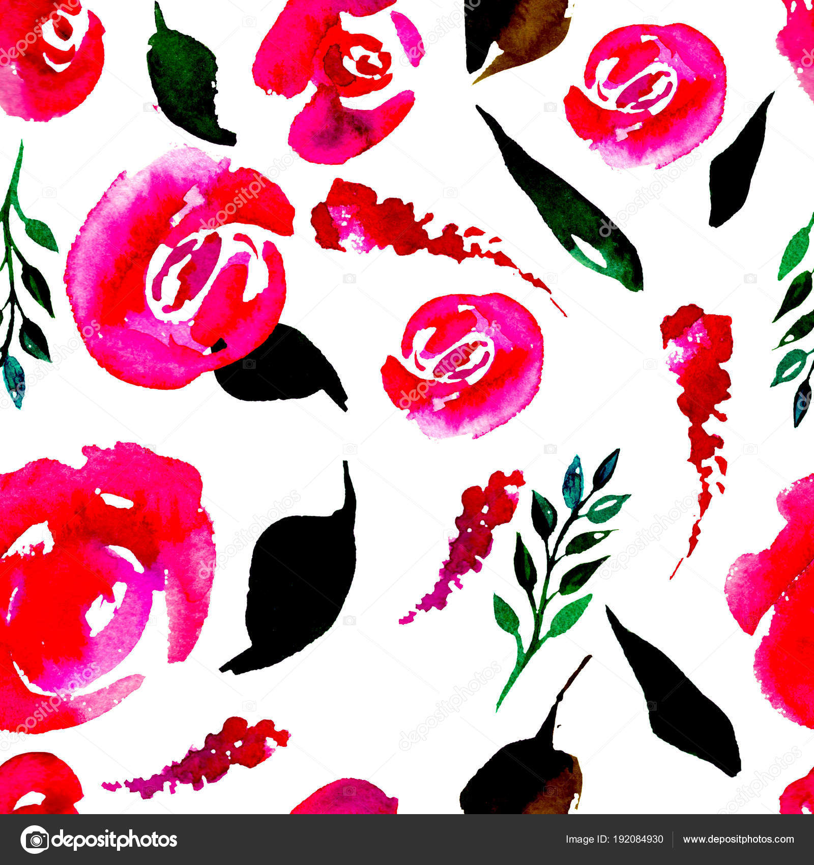 Watercolor Floral Repeat Pattern Can Be Used As A Print For
