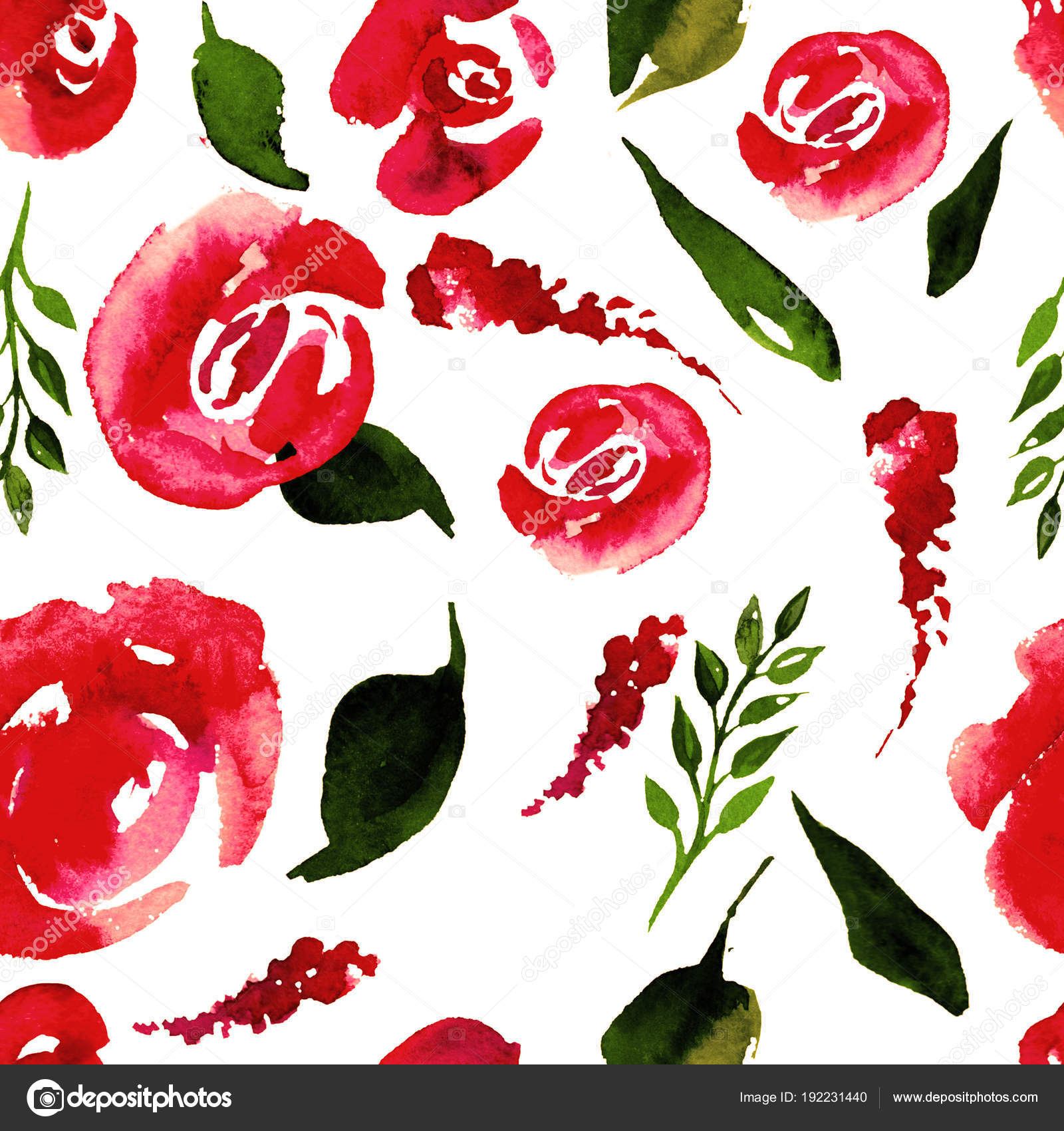 Watercolor Floral Repeat Pattern. Can be used as a Print for Fabric ...