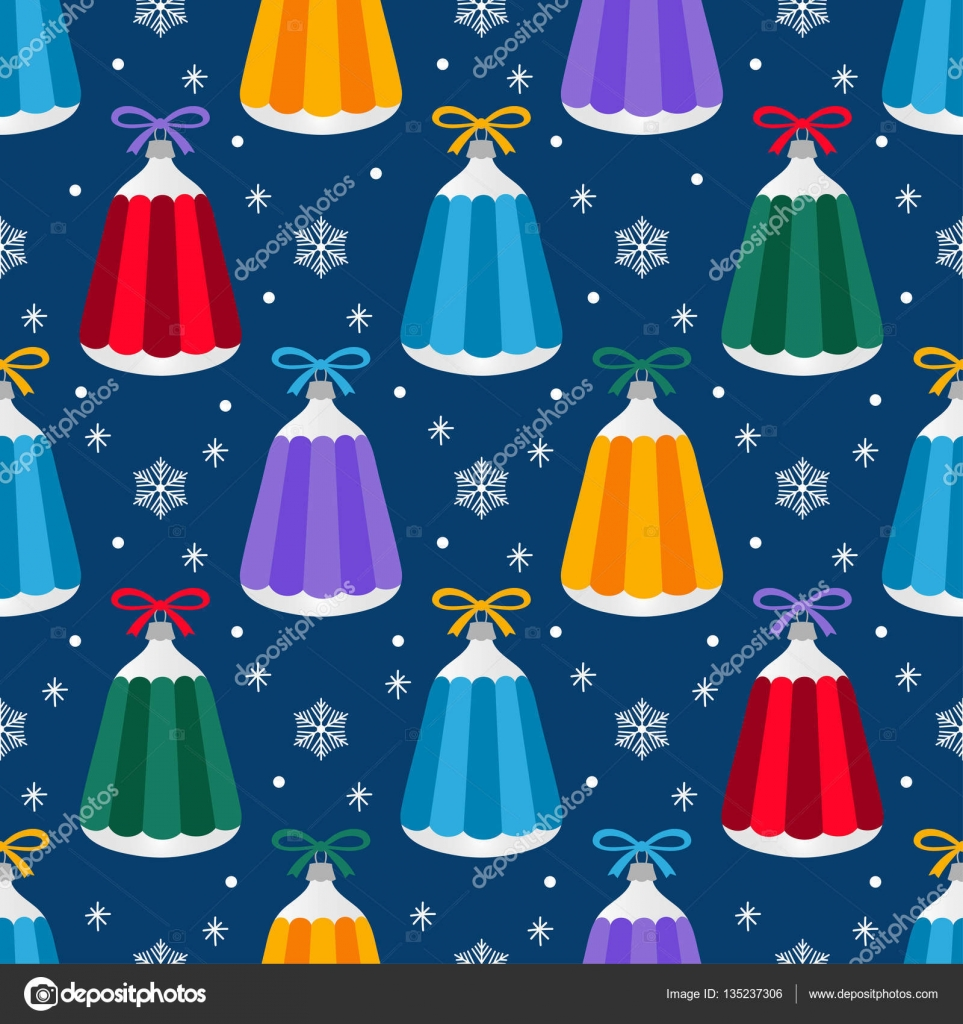 christmas tree decorations seamless pattern of cartoon blue red orange yellow green - Orange Coloured Christmas Tree Decorations