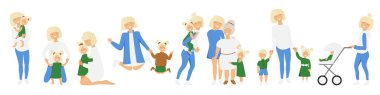 Vector set of blond mother's little activities. Funny situations of mom on maternity leave. Concept design of happy family huge each other isolated. Three generations together holds hands and laugh