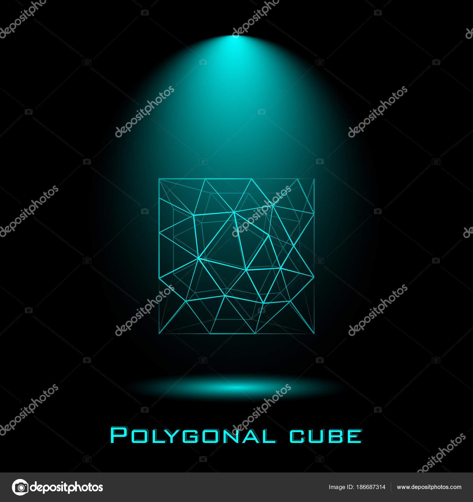 Würfel, Linien, molekulare Gitter, geometrische Form ...