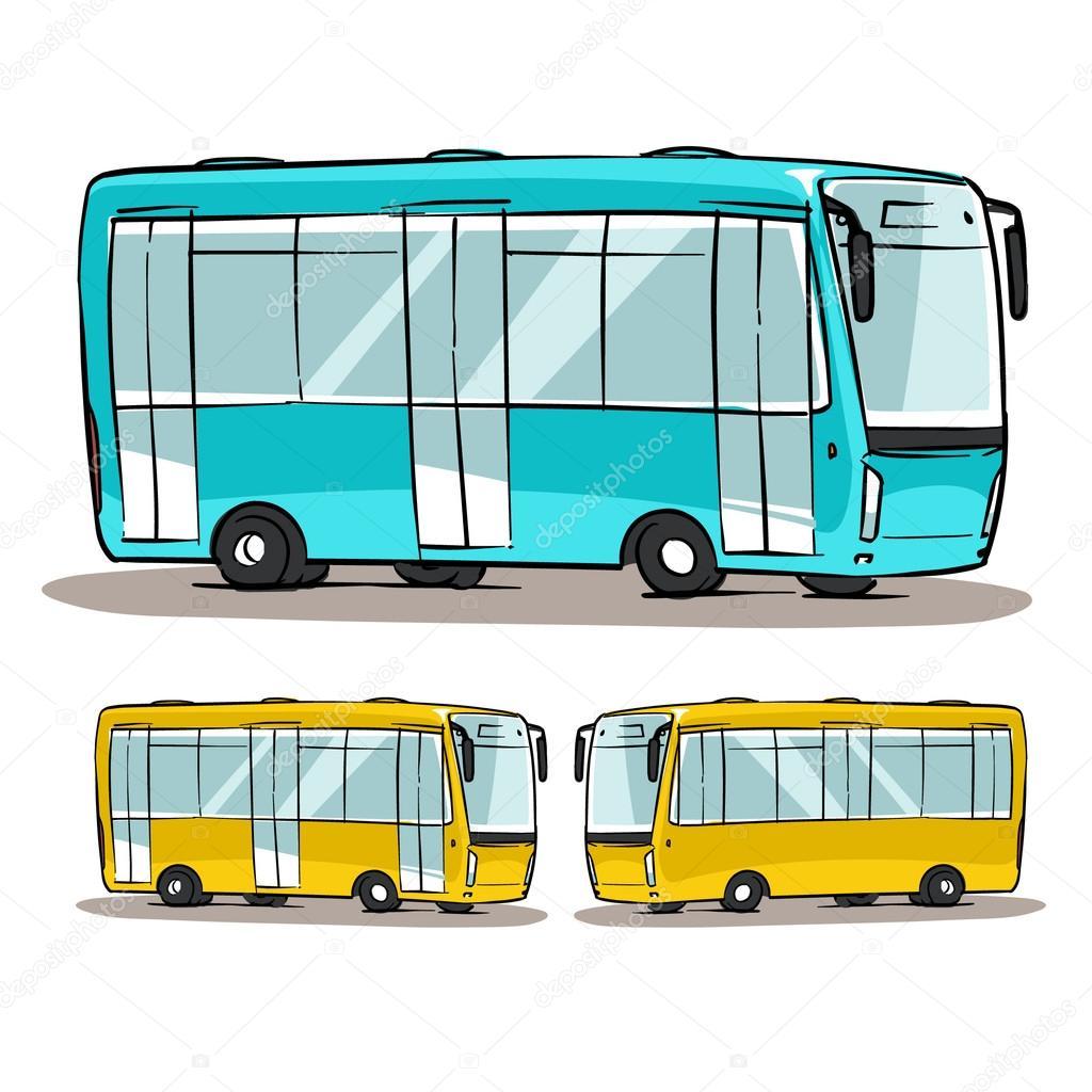 Cartoon City Bus Sketch U2014 Photo By Natashin