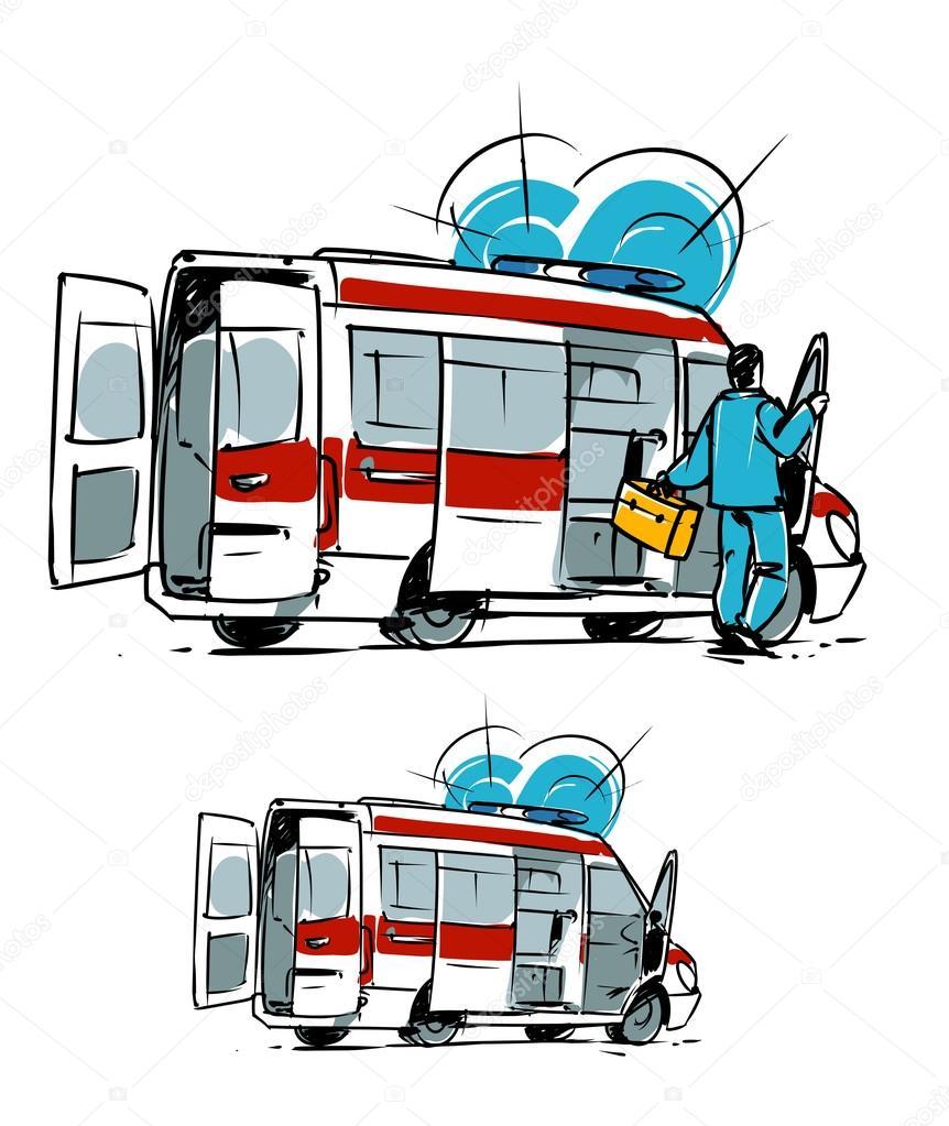 Ambulance car. Hand drawn illustration — Stock Photo © natashin ...