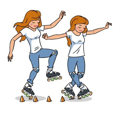 Roller skating girl. Freestyle slalom skating