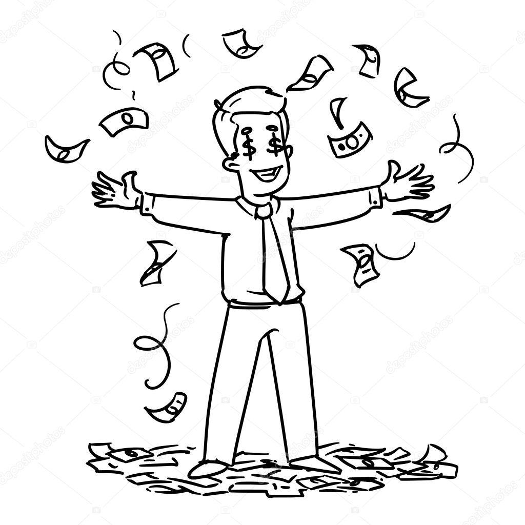 Animado Dinero Para Colorear Hombre De Pie Bajo La Lluvia De