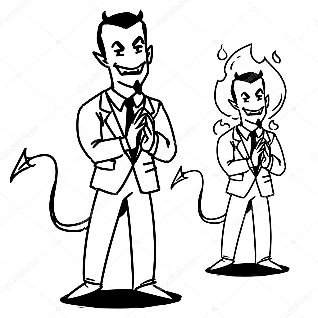Satan BusinessmanDevil Manager Cartoon Character Devil In Suit Illustration Stock Photo