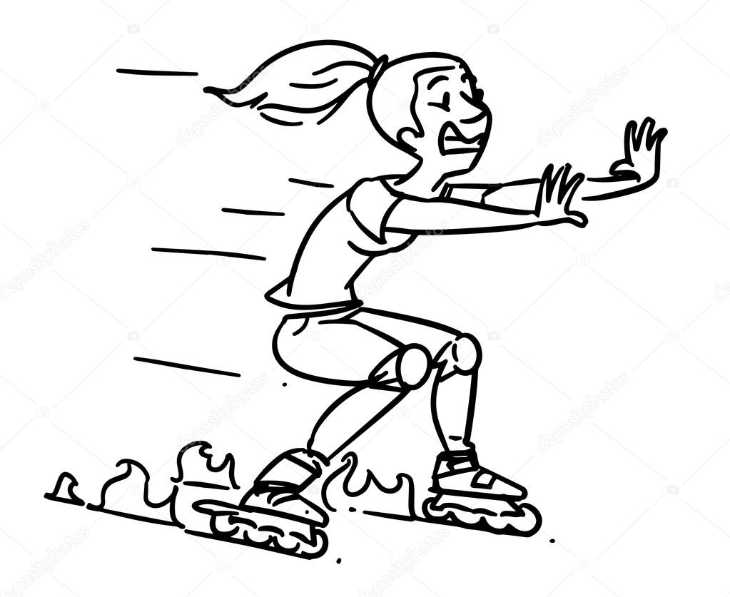 Roller skates accident. Girl on Inline Skates. Cartoon sketch ...