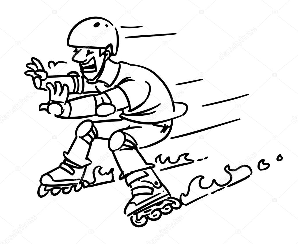 Roller skates accident. Man on Inline Skates. Cartoon sketch ...
