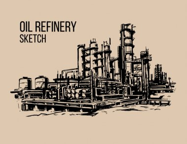 oil refinery sketch illustraton
