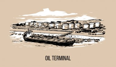 oil terminal with tanker.