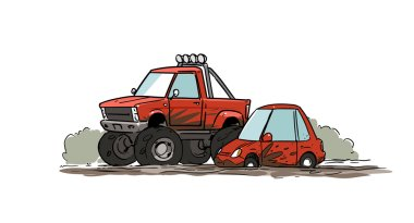 Little car stuck in mud and big off-road pickup truck.