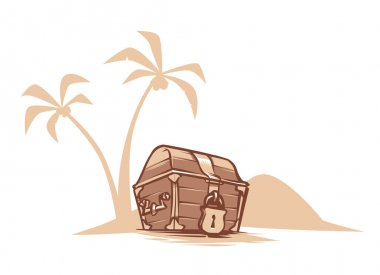 Treasure chest illustration on white