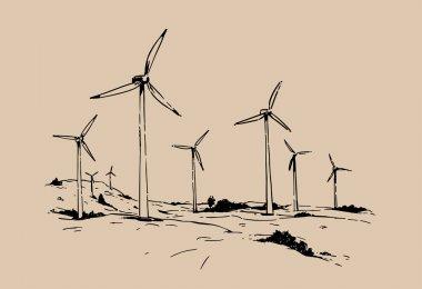 Wind turbines. hand drawn sketch  vector illustration. stock vector