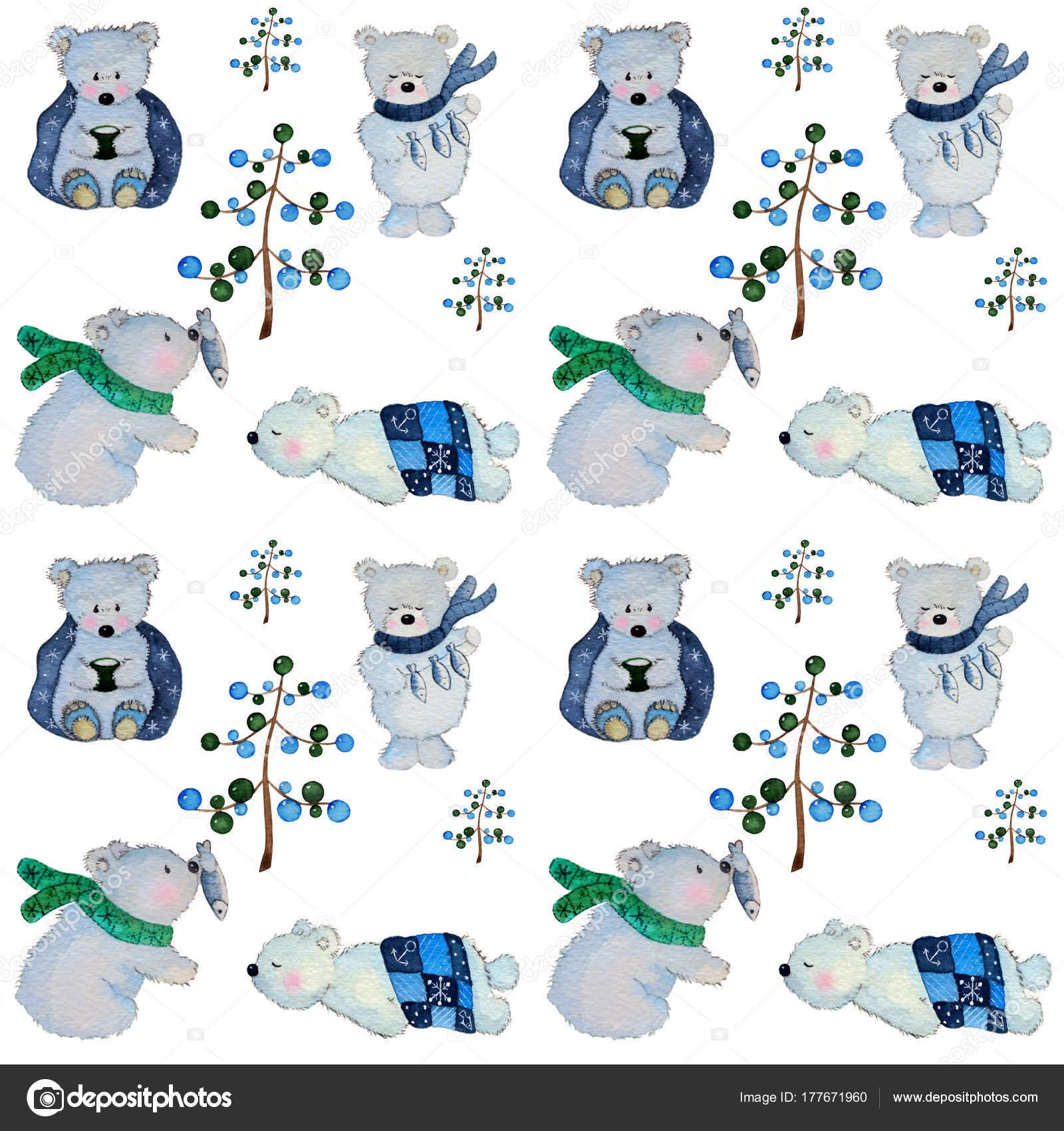 Patrón Oso Polar Acuarela — Foto de stock © lillyeu9 #177671960