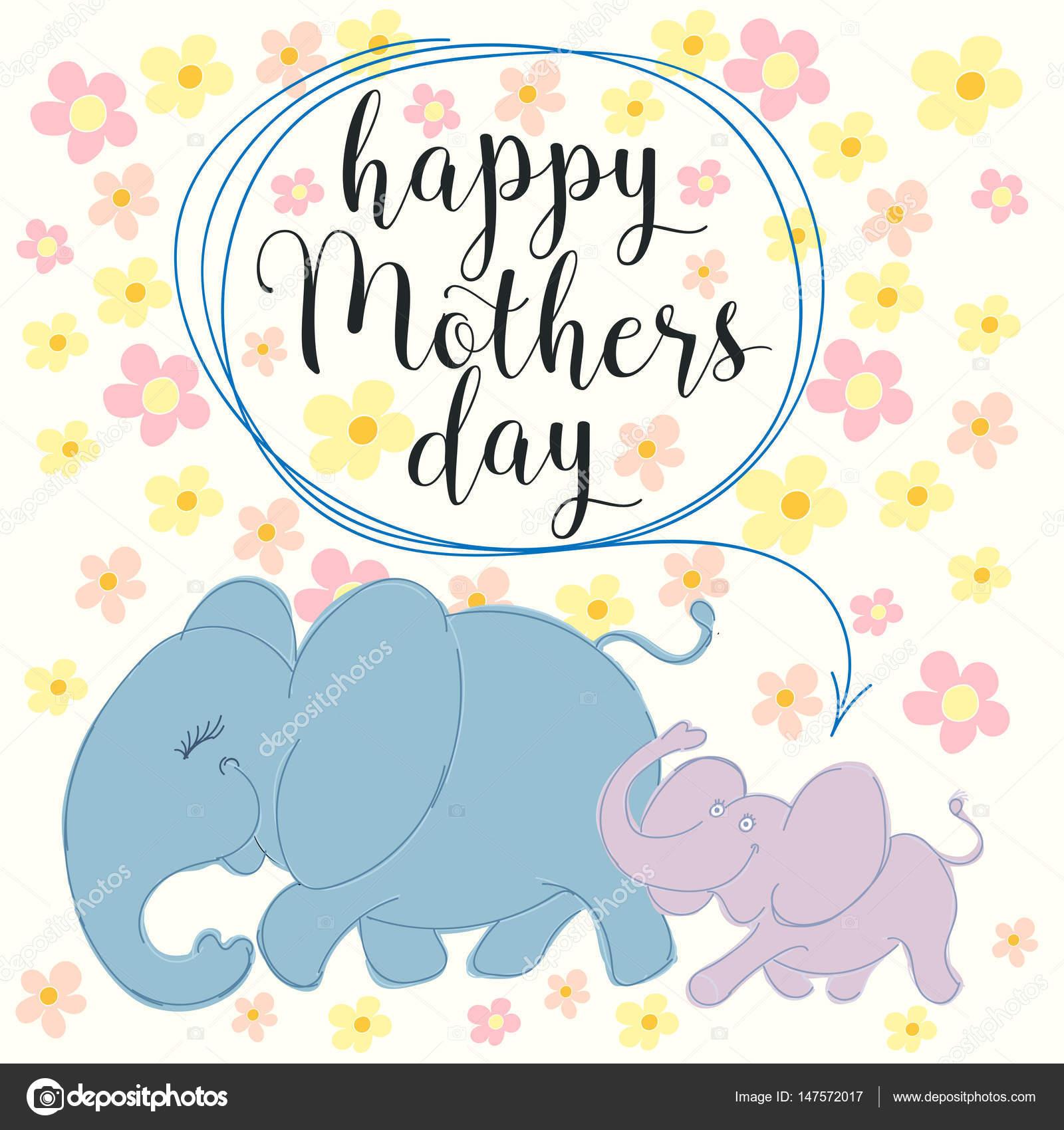 Glückliche Muttertag mit Elefant und Blumen — Stockvektor © Karcha ...