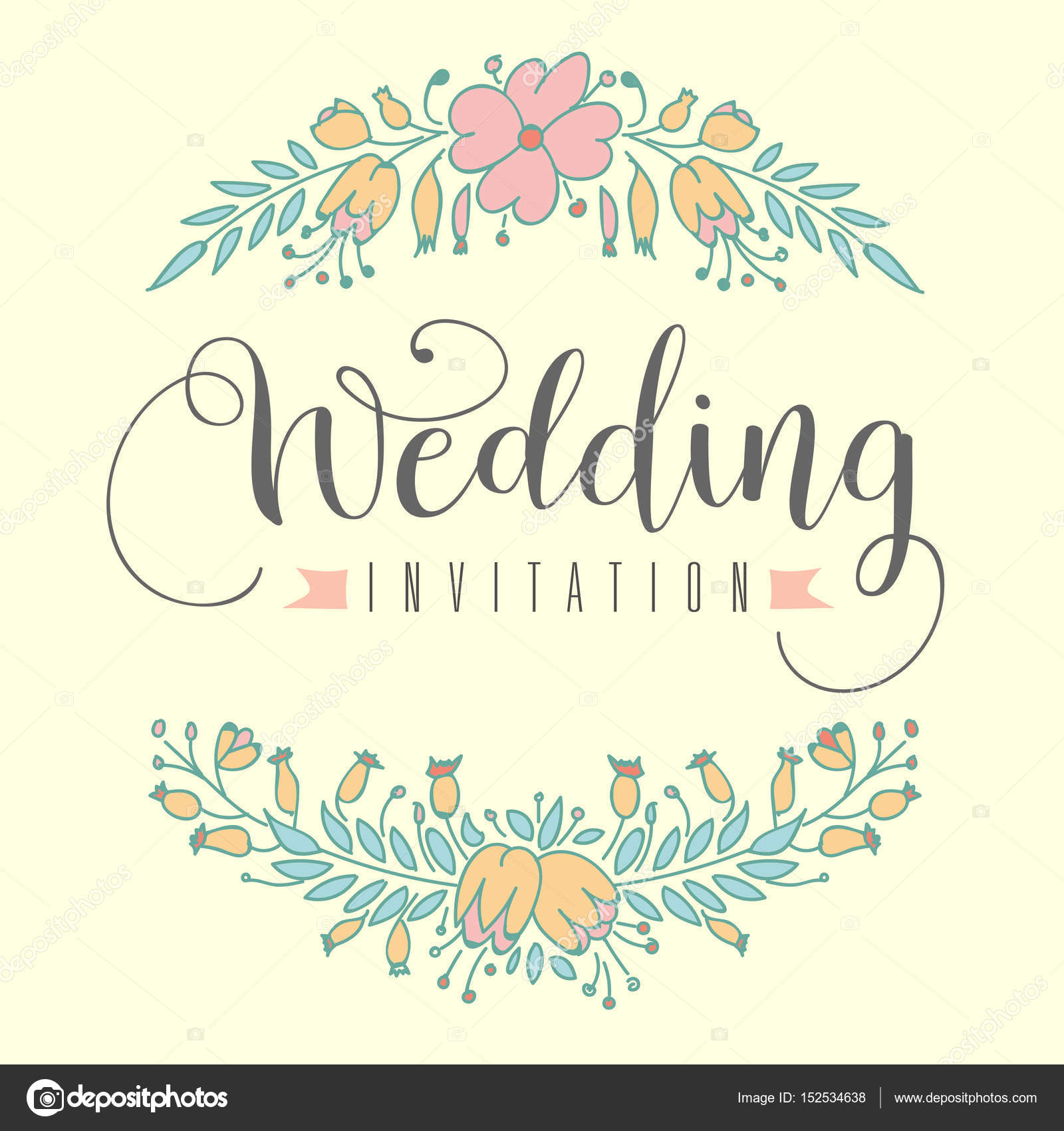 Wedding Invitation Hand Letter With Flowers Stock Vector C Karcha