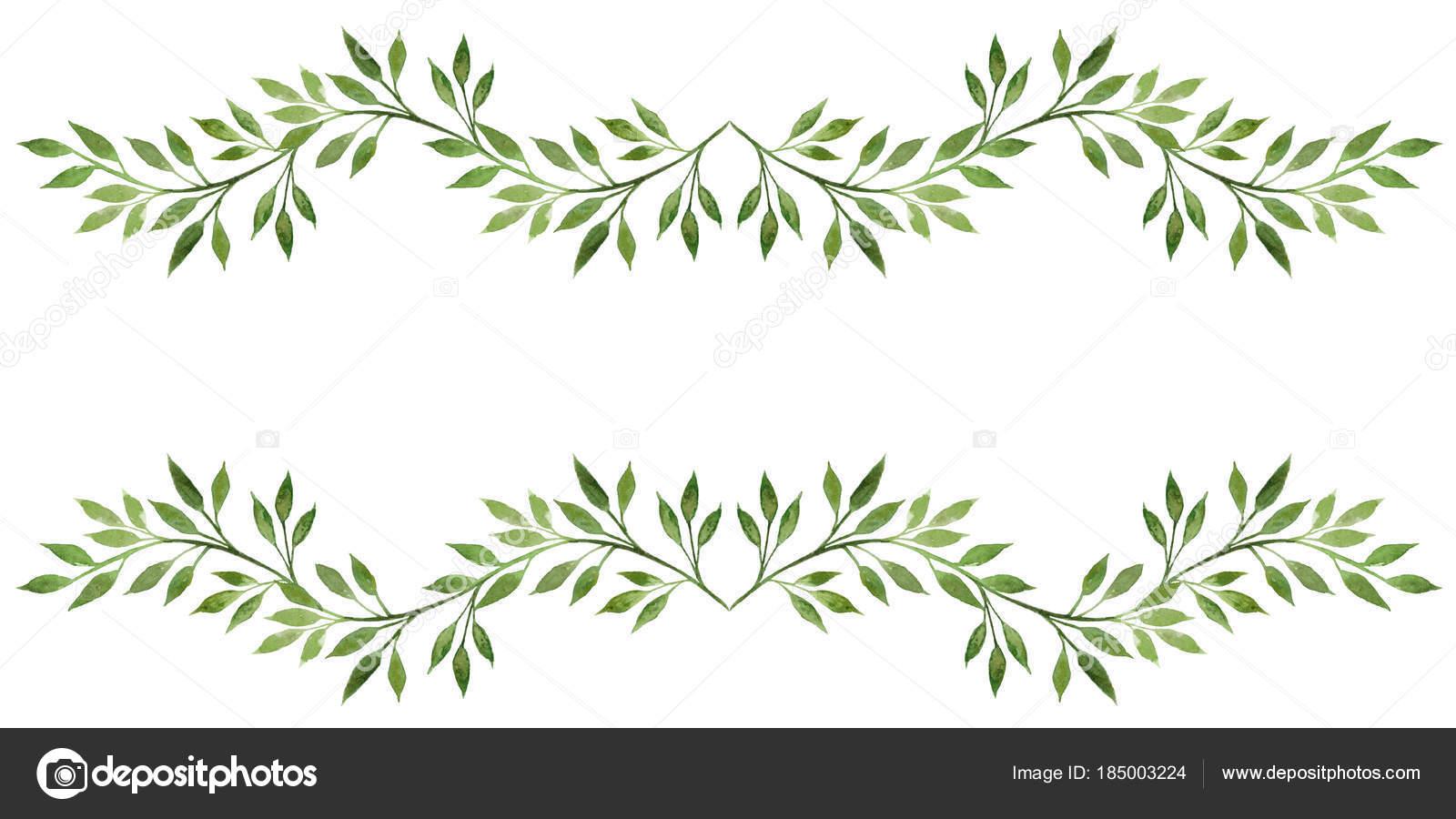Aquarell Blätter Rahmen Aquarell Handgezeichnete Abbildung Isoliert ...